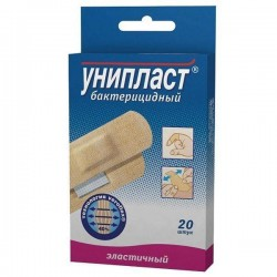 Лейкопластырь бактерицидный, Унипласт р. 1.9смх7.2см №20 верофлекс эластичный в карт. уп.