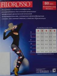 Колготки компрессионные, Филороссо р. 3 40/70 den Велюр лечебно-профилактические 1 класс компрессии черные